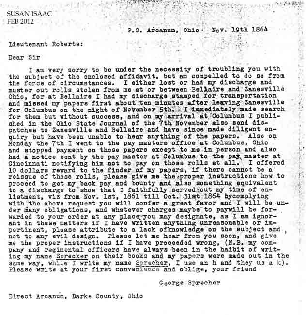 civil war letters 1861